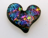 Dichroic Cabochon, 22 mm x 24 mm, Jewelry Cabochon, Glass Heart Cabochon, Mosaic Tile,  Heart Glass Tile