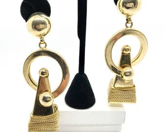 Vintage Gold Tone Clip On Earrings, Dangle Earrings, Clip On Earrings, 1970's Earrings, Hippie Earrings, Boho Earrings, Vintage Earrings