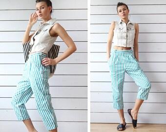 Vintage green white vertical striped cotton denim high waist crop length jeans pants M
