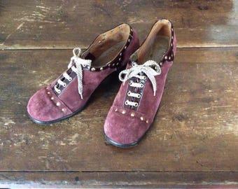 1970's Van Eli Chunky Heels Studded Burgundy Suede Oxford Shoes 9M