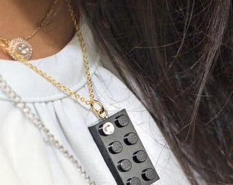 ON SALE Black LEGO (R) brick 2x4 with a Diamond color Swarovski crystal on a Silver/Gold plated trace chain or on a Black ballchain