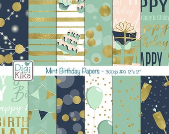 Mint Happy Birthday Digital Papers - Scrapbooking, card design, invitations, stickers, background, paper crafts, web design INSTANT DOWNLOAD
