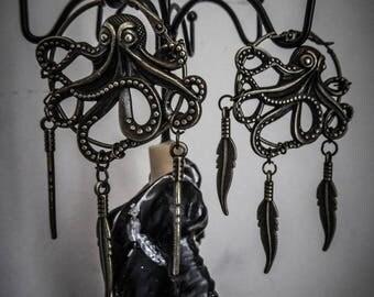 "Shaman bronze Creole feathers ""Kraken"" steampunk Octopus"