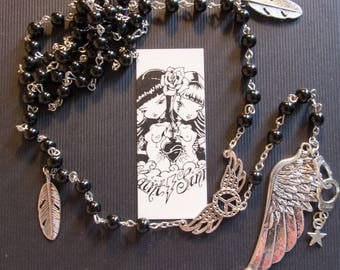 Chaplet Rosary silver beads, feathers and cuffs