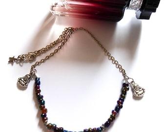 Iridescent oil ♰Little Bouddha♰ Tierracast silver beads necklace