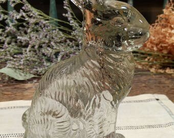 Antique Glass Rabbit / Bunny / Clear Pressed Glass Candy Container / Holder / Easter Holiday / Peter Rabbit / 40s