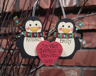 Personalized Penguin Couple Ornament - Our First Christmas as Mr. & Mrs.
