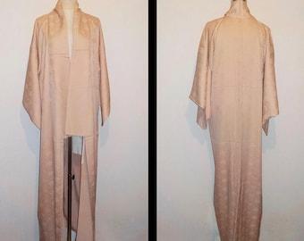 Vintage kimono - Damask silk, Paulownia and bamboo leaf, Rose dust