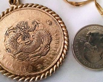 Necklace Vintage Pendant Dragon Coin Lettering on Reverse GP Brass Big Bold Unisex Piece Singapore Twist Chain Long