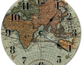 """10.5"""" MAP of the WORLD Clock - Living Room Clock - Large 10.5"""" Wall Clock - Home Décor Clock - 5140"""