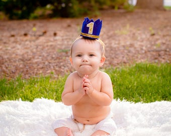 Royal Blue and Gold Prince Birthday Crown, Cake Smash, Mini Birthday Crown, Mini Party Crown, Any Birthday number, Little Man Prince Party