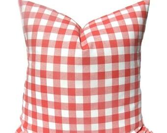 15% Off Sale Coral Pillow , Pillows, Coral Pillow Cover, Plaid Pillow, Decorative Pillow, Check Pillow, Coral Throw Pillow , Accent Pillow,
