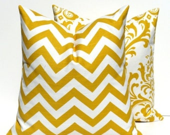 15% Off Sale Yellow Pillow Decorative Pillow Covers Throw Pillow Covers Accent Pillow Cushions Chevron Home Decor Spring Decor