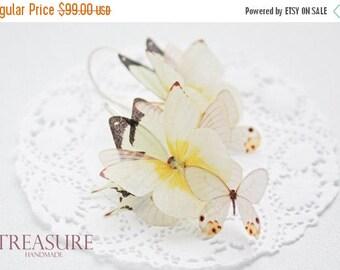 SALE Butterfly earrings, long butterfly earrings, dangle earrings, bridal earrings, yellow butterfly earrings, ivory butterfly earring, butt