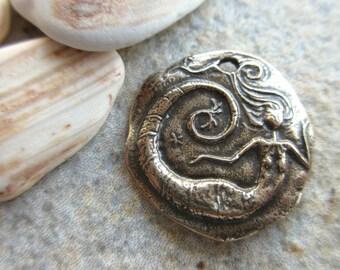 Mermaid Charm Pure Bronze 25mm round mermaid pendant bronze beach charm Mermaid love MER01-B