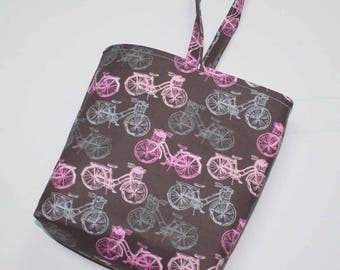 Waterproof, Wipeable and Washable Pink & Gray Bicycle Print Car Trash Bag