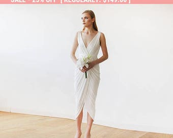 25% OFF Ivory Wrap Tulip Dress with V Neckline 1154