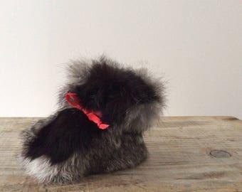 Rabbit fur baby booties