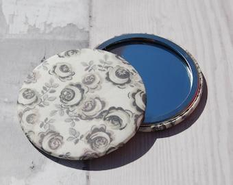 Pocket Mirror Liberty Fabric Covered Kasia Grey/Gray