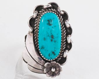 Vintage Ring - Vintage Sterling Silver Turquoise Ring