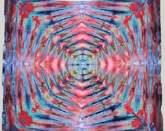 """Psychedelic Ice Dye Tapestry Tie Dye Tapestry 58x58"""" Red Purple Navy Blue"""