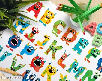 Alpha - Monster ABC - Boy, Monster clipart, cute monster, monster alphabet, monster clipart, vector clipart, Vector Clipart, SVG cut files
