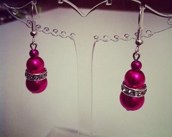 Silver beads earrings fuchsia and rhinestones