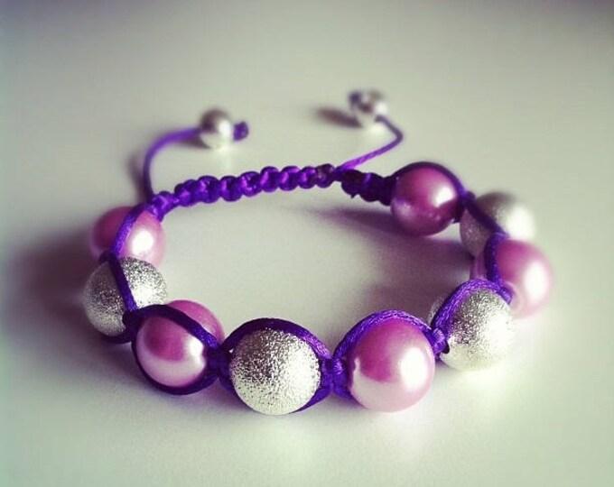 Shamballa bracelet adjustable purple and silver #45