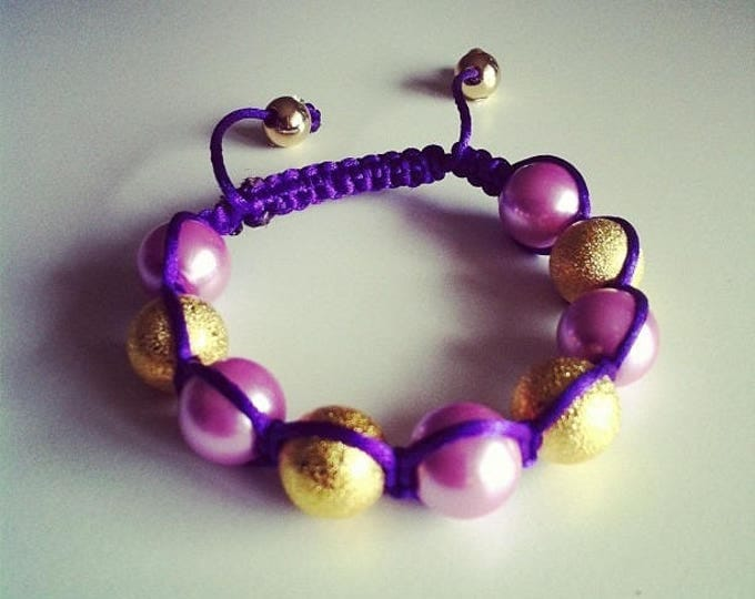 Shamballa bracelet adjustable purple and gold #46