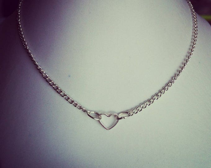 1 small heart silver plated chain necklace