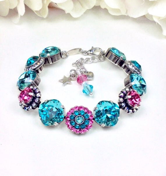 "Swarovski Crystal Bracelet - 12MM/ 8.5mm - ""Rosetta"" - Designer Inspired - Classy & Beautiful -  Embellished Wrist Candy - FREE SHIPPING"