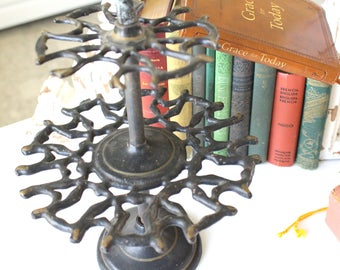 Rare, Antique, Industrial, Revolving Rustic Cast Iron, 2 Tier Rubber Stamp Holder, Gifts for Him, Office Organizer, Stamp Caddy Carousel