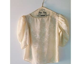 Vintage Cream Blouse with Rose Pattern