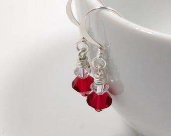 Silver Swarovski Crystal Earrings - Valentine's Day Earrings - Be Mine