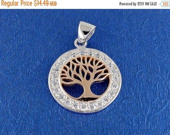 ON SALE Tree of Life Pendant in Solid 925 Silver - Wiccan Magic Charm - Pagan