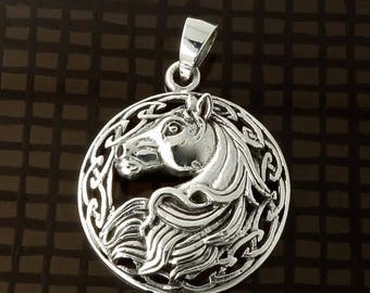 ON SALE Sterling Silver Horse Pendant Art Nouveau