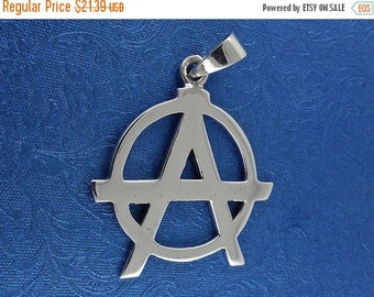 ON SALE Sterling Silver Anarchy Pendant, Anarchism Free Shipping!