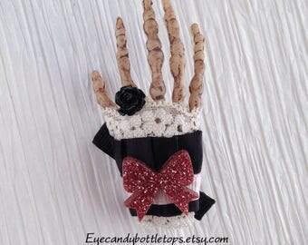 Skeleton Hand Hair Bow