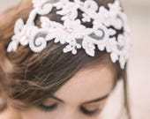 Reserved Listing - Floral Lace Headband, Crystal and Lace Bridal Headpiece, Juliet Cap, Lace Headband, Lace headpiece with Crystals, #308