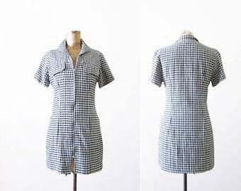 90s Mini Dress / Black Gingham Plaid Mini Dress / 90s Zip Front Dress / Shirt Waist Dress / Grunge Clothing / Reformation / 90s Clothing XS