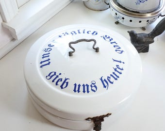 Antique Enamelware Bread Box, from Germany, White with Blue Lettering, Housewarming Gift, Birthday Gift, Christmas Gift,
