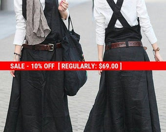 SALE! Stock Black Linen Halter Long Dress/ Maxi Sundress / Casual Dress - Xl, Xxl, Plus Size Custom C1001
