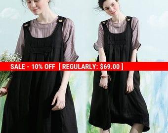 SALE! Linen Pinafore Dress, Linen Apron Dress, Maxi Linen Dress, Linen Halter Dress, Black Linen Dress, Black suspended dress