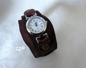 Watch round Dial Leather cuff bracelet