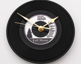 "CHICAGO Vinyl Record CLOCK ""You're The Inspiration""  A recycled 7"" vinyl record Gift for men women our song wedding song black silver"