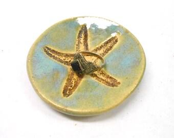Pottery Starfish Ring Dish Ceramic Starfish Ring Dish Pottery Ring Dish Teabag or Teaspoon Holder Tiny Starfish Bowl in Blue Green