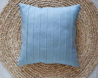 Blue pillow cover with lines, decorative linen pillowcase for home decor, housewarming gift idea.