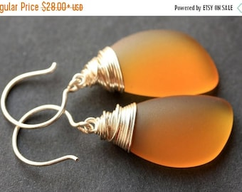 SUMMER SALE Amber Seaglass Earrings. Amber Earrings. Amber Sea Glass Earrings. Wire Wrapped Wing Earrings. Handmade Jewelry.