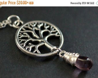 BACK to SCHOOL SALE Silver Tree Necklace. Tree of Life Necklace. Wire Wrapped Purple Teardrop Necklace. Handmade Jewellery.