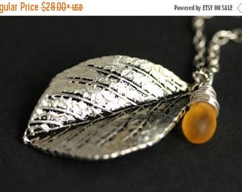 BACK to SCHOOL SALE Silver Leaf Necklace. Leaf Pendant with Wire Wrapped Teardrop. Leaf Jewelry. Silver Leaf Charm Necklace. Silver Necklace
